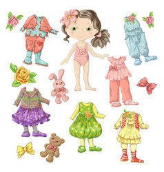 Dress a cute doll with sets clothes vector