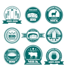 Eco farm milk dairy products emblems vector image