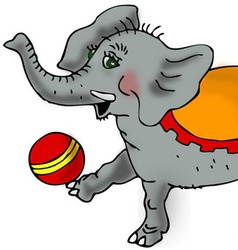 Elephant playing with a ball vector