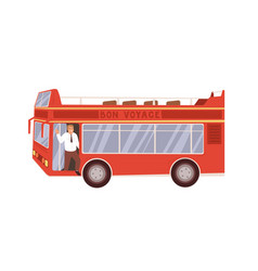 exterior red double-decker tour bus with driver vector image