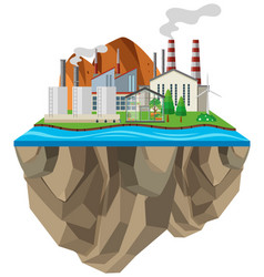 Factories with smoke coming out chimneys vector