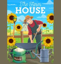 Farmer fertilize soil agriculture farming works vector