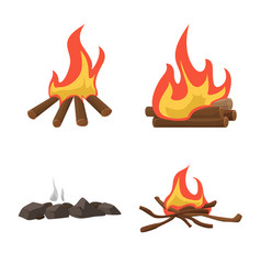 Flame and fire logo set of vector