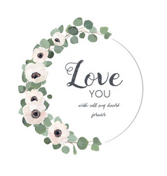 Floral design card white light pink anemone vector