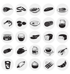 food set on circles background vector image