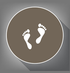 foot prints sign white icon on brown vector image