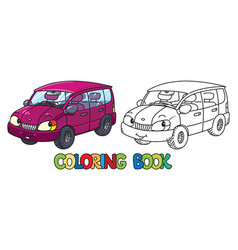 funny small car with eyes coloring book vector image