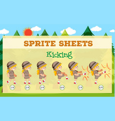 game sprite sheets kicking vector image