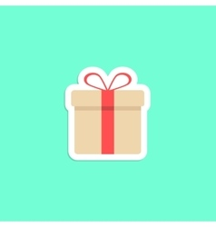 Gift box icon sticker isolated on green background vector