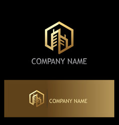 Gold building polygon company logo vector