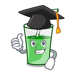 Graduation green smoothie character cartoon vector