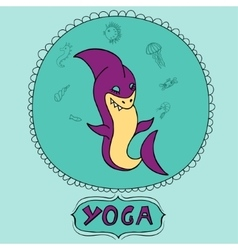 Great purple cartoon shark doing meditation with vector image