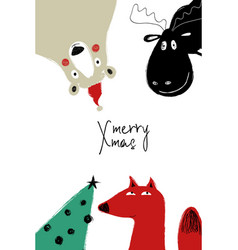 greeting card withh christmas tree and animals vector image