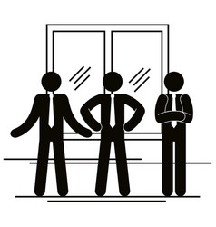 group of business people with window teamwork vector image