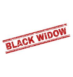 Grunge textured black widow stamp seal vector