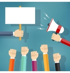 Hands holding protest sign and bullhorn vector