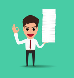 Happy business man working hard vector image vector image