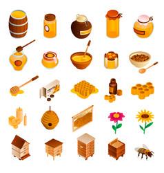 Honey icon set isometric style vector