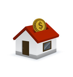 house shaped piggy bank icon with dollar sign vector image
