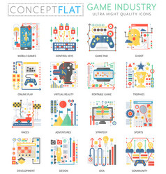 infographics mini concept game industry icons vector image