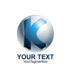 initial letter k logo template colored blue grey vector image