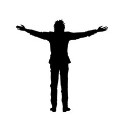 Isolated silhouette of man with outstretched arms vector