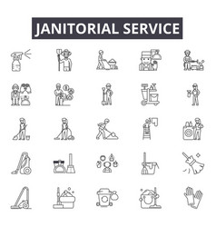 Janitorial service line icons for web and mobile vector