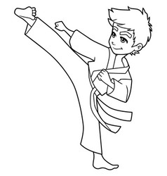 Karate kick boy line art vector