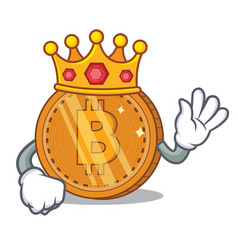 King bitcoin coin character cartoon vector