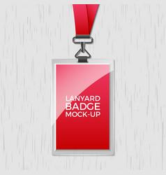 lanyard badge id card template blank identity vector image