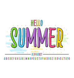 latin color alphabet hello summer font in cute vector image
