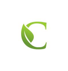 letter c leaf nature logo vector image
