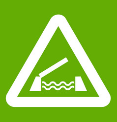 lifting bridge warning sign icon green vector image