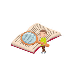 Little boy reading a book with a magnifying glass vector