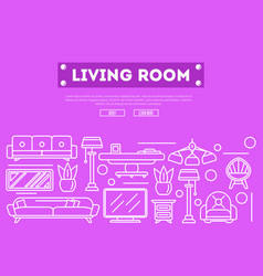 Living room design poster in linear style vector