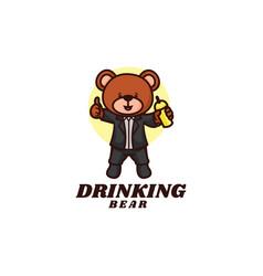 logo drinking bear mascot cartoon style vector image