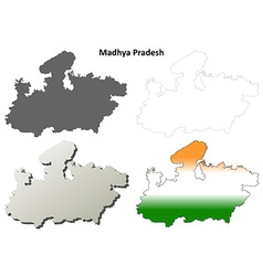 Madhya Pradesh blank outline map set vector