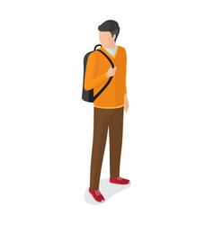 Man in orange sweater brown trousers with rucksack vector