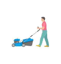 Man with blue lawnmower vector