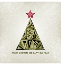 Merry Christmas card with grunge christmas tree vector image