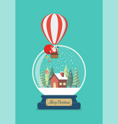 merry christmas glass ball with santa in balloon vector image