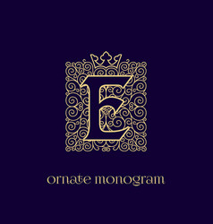 Monogram with crown e vector