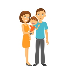 Mother and father with baby Happy parents vector