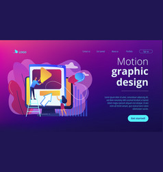 Motion graphic design concept landing page vector