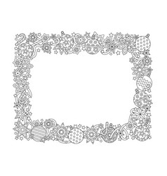 New year hand drawn horizontal frame zentangle vector