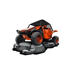 Off-road atv buggy rides in mountains on the vector