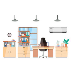 office desk and shelving with books isolated icon vector image