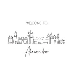One continuous line drawing alexandria city vector