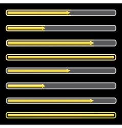 Orange preloaders and progress loading bars vector