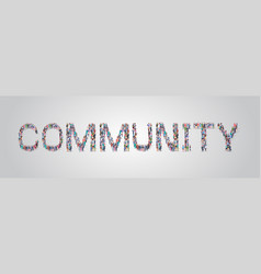 People crowd gathering in shape community word vector